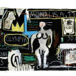 Jean-Michel Basquiat. Crown Hotel (Mona Lisa Black Background), 1982. Acrilico e collage di carta su tela montati su supporti di legno legati, cm 123,9 × 215,9. Private collection © The Estate of Jean-Michel Basquiat by SIAE 2016