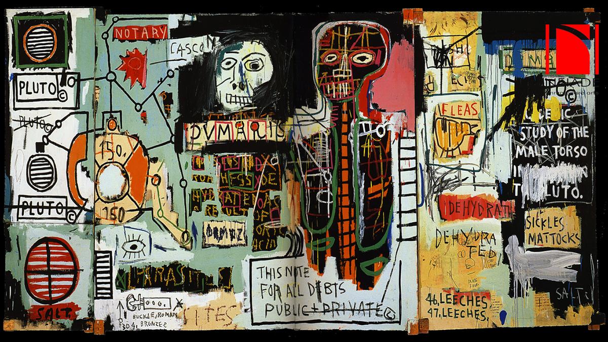 Jean Michel Basquiat. Embittered, 1986. Collage, matita e pittura su tavola, cm 125,7 × 184. Mugrabi Collection