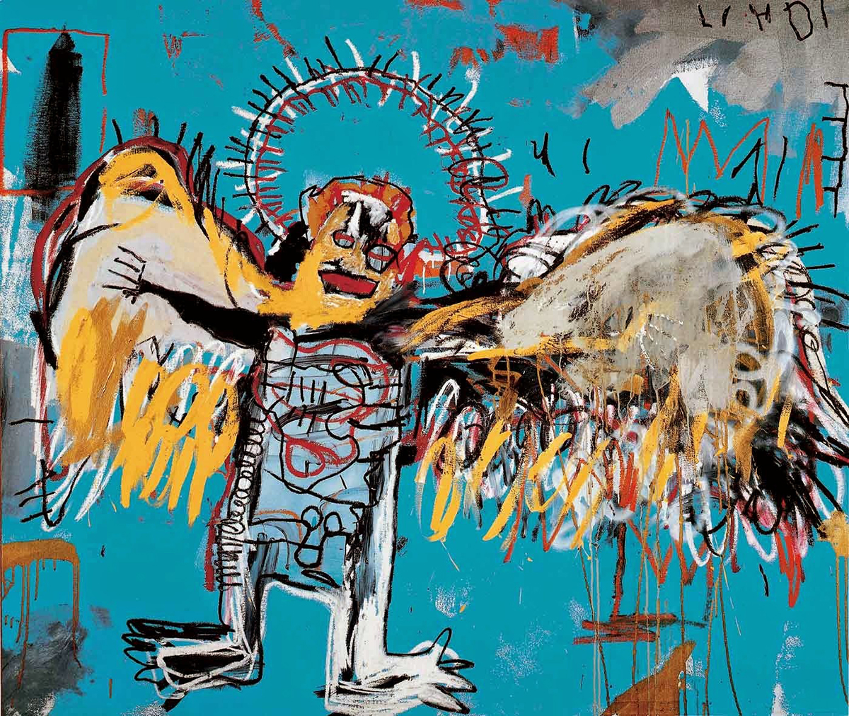 Jean Michel Basquiat. Embittered, 1986. Collage, matita e pittura su tavola, cm 125,7 × 184. Mugrabi Collection