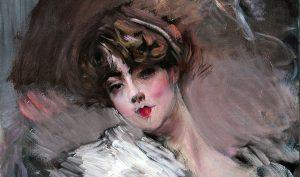 Giovanni Boldini. Ritratto di giovane donna con nastro bianco sui capelli