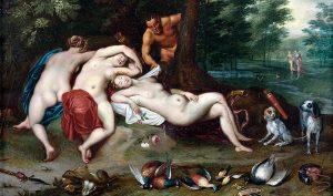 Jan Brueghel giovane e Jan Van Boeckhorst. Ninfe dormienti spiate da satiro