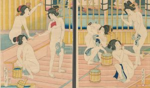 Kunisada. The Nakamanjiro Public Bath, 1869
