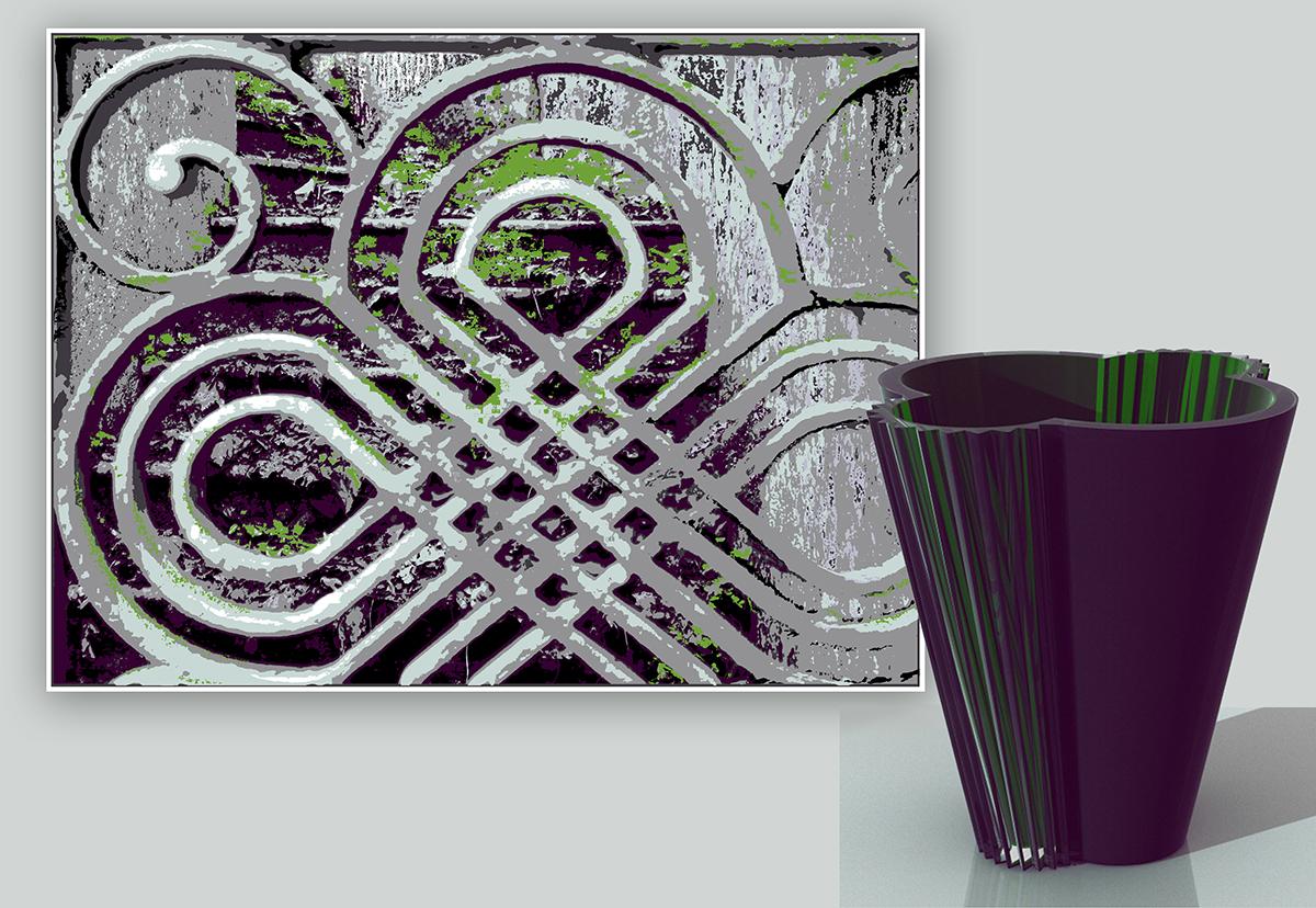"""Markku Piri. Serigrafia dalla serie """"Shadow Dances"""" che dialoga con l'opera di vetro """"Raggi del Sole"""" realizzata a Murano dal maestro Simone Cenedese"""