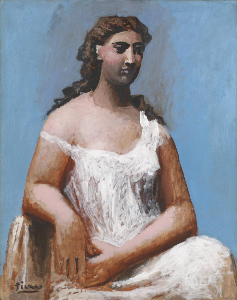 Picasso. Femme assise en chemise (Donna seduta in camicia), 1923. Olio su tela, cm 92,1 x 73. Tate, Bequeathed by C. Frank Stoop 1933. Succession Picasso by SIAE 2017
