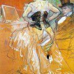 Tolouse-Lautrec. Rivista Elles. Donna in corsetto, 1896. Disegno, gesso, gesso nero e blu, olio su carta, fissato su tela