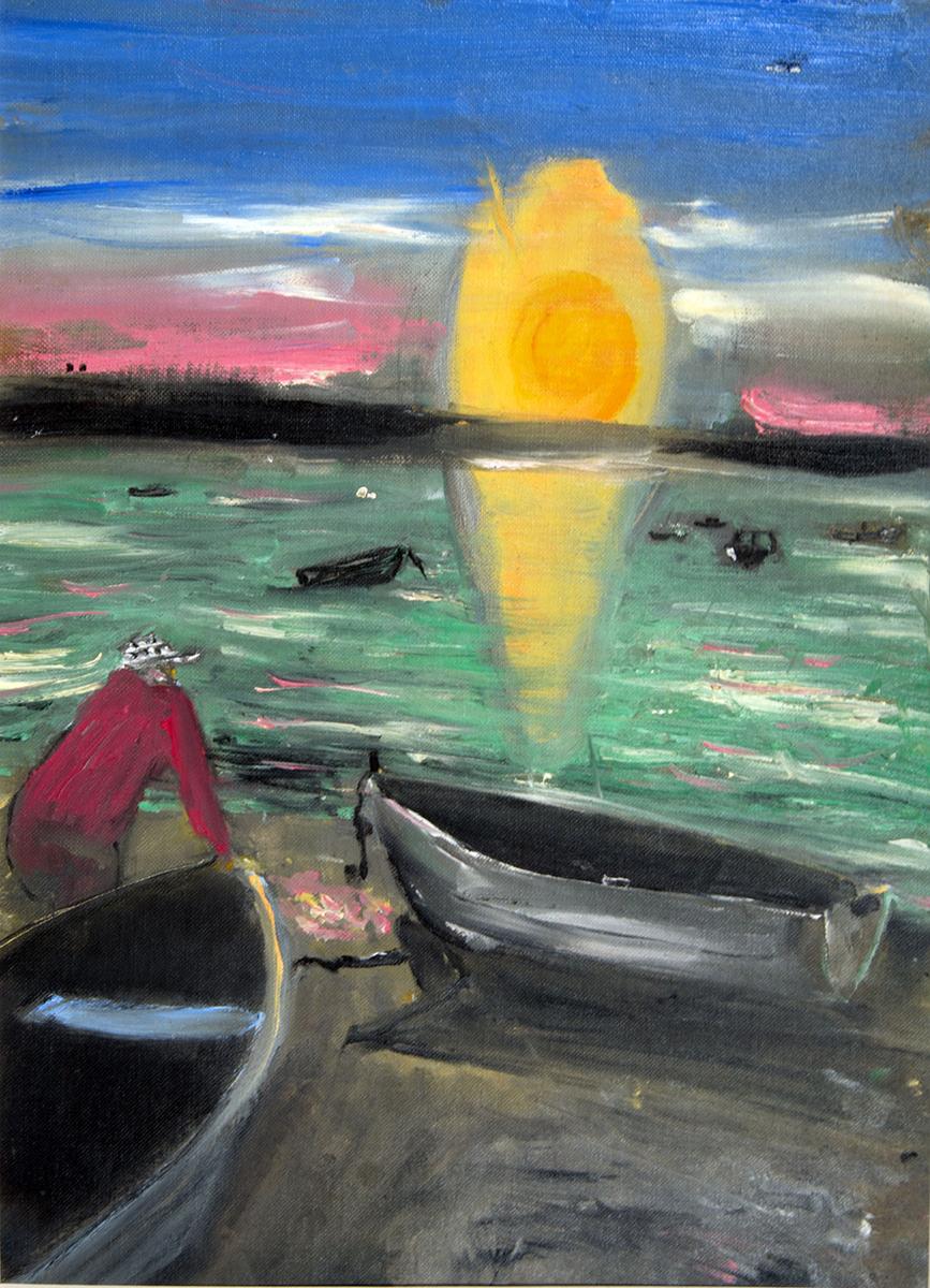 Jack Kerouac. Sacred Heart, N.D.. Olio su carta, 23x30,5 cm