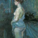Toulouse-Lautrec. Femme-retroussant sa chemise, 1901. Olio su legno. 1901 • OLIO SU LEGNO • Collectiion Albright Knox Art Gallery Buffalo, New York