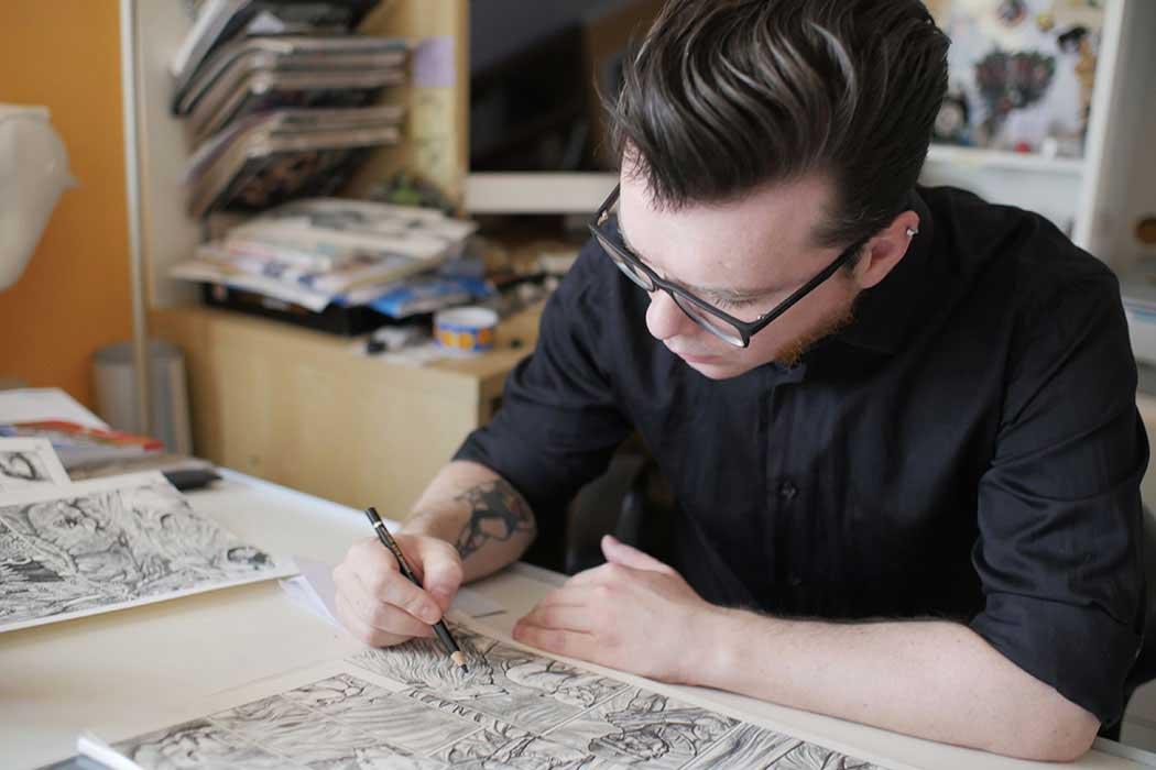 Ulderico Fioretti disegna JAY-NA NUMBELAN nel suo studio